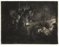 Rembrandt van Rijn titled Adoration of the Shepherds: Night Piece