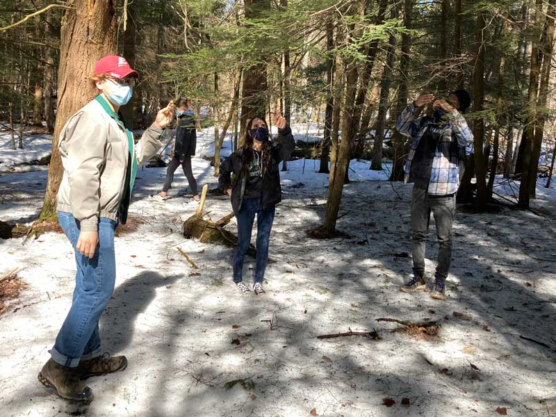 Students in George Meindl's ENVI 324: Urban Ecology class work with the Broome County Parks Department to help map the presence of invasive species such as the emerald ash borer and hemlock woolly adelgid in local parks.