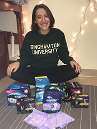 Halley Gerber collected feminine hygiene products for local women in need.