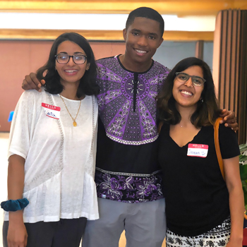 Zara Shah, Alpha Bah and Shreen Dubey hosted a Community Health Fair on June 21, 2018 at the Binghamton American Civic Association thanks in part to the Passion for Impact Scholarship awarded by the African Student Organization and MALIK Fraternity Inc.