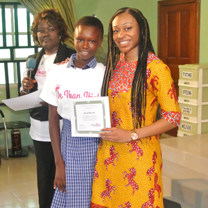 Mmekom Udosen, founder of Iban Ifiok with a young woman who took part in her 2017 empowerment workshop in Akwa Ibom, Nigeria.