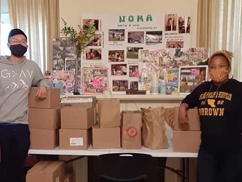 The Delta Sigma Pi business fraternity and the Binghamton InterVarsity Christian Fellowship donated supplies for a hygiene pantry at the North of Main Community Center.