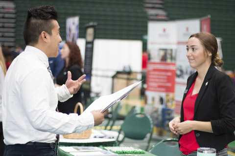 Students attending job fair