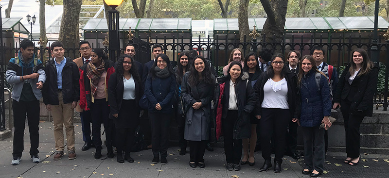Students in Bryant Park before heading to job shadow alumni