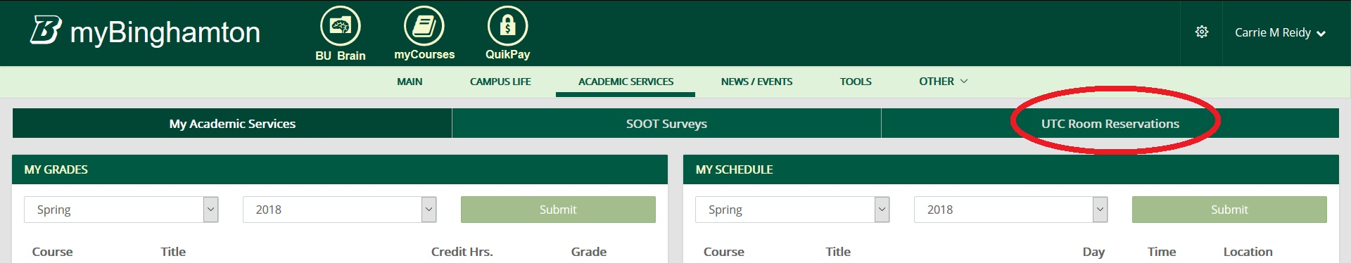 Screenshot of Academic Services tab