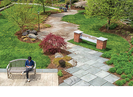 Aerial photo of Memorial Courtyard and new plaque display