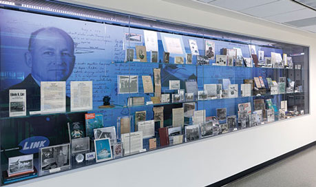 Link exhibit in the North Reading Room of Glenn G. Bartle Library