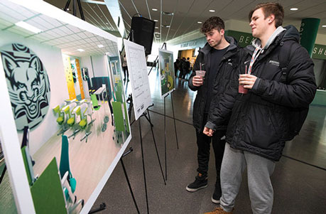 Binghamton students view upgrades planned for the Student-Athlete Success Center