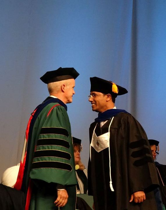 Faisal Aqlan and President Harvey Stenger at Doctoral Hooding