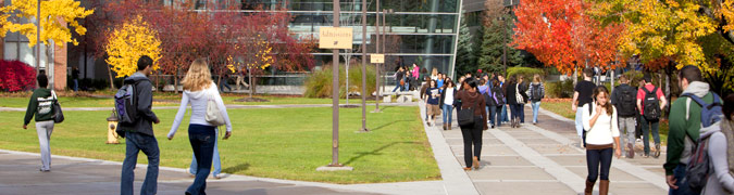 students walking during the fall months
