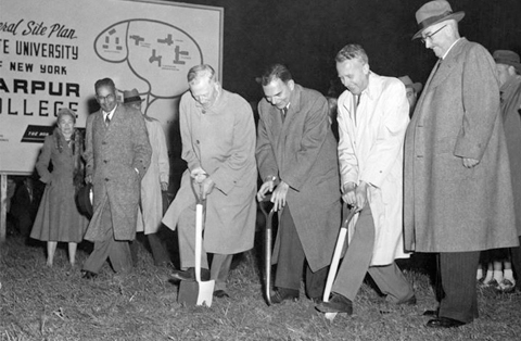 1954 - Groundbreaking for the Vestal Campus of Harpur College (left to right): Charles F. Johnson (governor), Thomas E. Dewey, and William S. Carlson (president of SUNY)