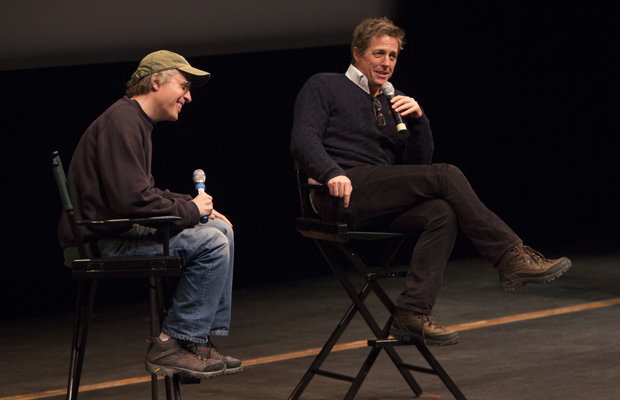 Marc Lawrence '81, left, and Hugh Grant answer questions from the audience following a special screening of the movie