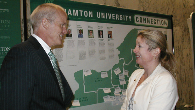 President Harvey Stenger speaks with Heather Briccetti '85, president and CEO of The Business Council, during Binghamton University Advocacy Day activities in Albany.
