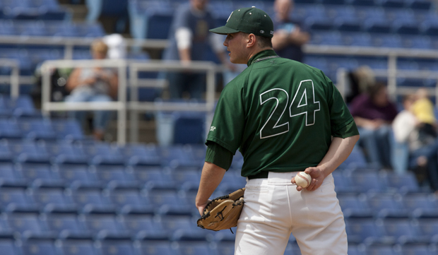 Mike Augliera, seen above against UMBC at NYSEG Stadium, was selected by the Boston Red Sox in the fifth round of the Major League Baseball draft on June 5.