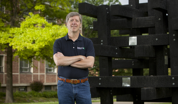Jeff Barker, associate professor of geological sciences and environmental studies, is seen next to