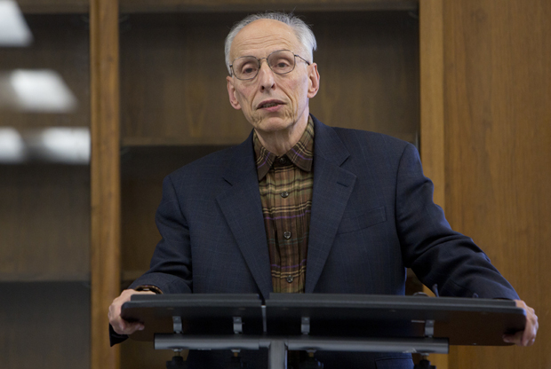 "Pultizer Prize-winner Herbert Bix discusses ""Empire Building in America and Japan: The Breakdown of Constitutional Order"" during a retirement lecture Nov. 1 at the IASH Conference Room."