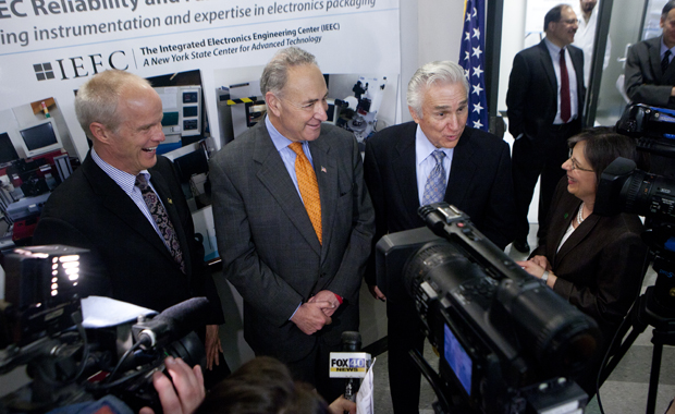 From left: President Harvey Stenger, U.S. Sen. Charles Schumer, U.S. Rep. Maurice Hinchey and state Assemblywoman Donna Lupardo speak with the media after a ceremony opening two laboratories at the New York State Center of Excellence in Small Scale Integration and Packaging (S3IP) on May 3.