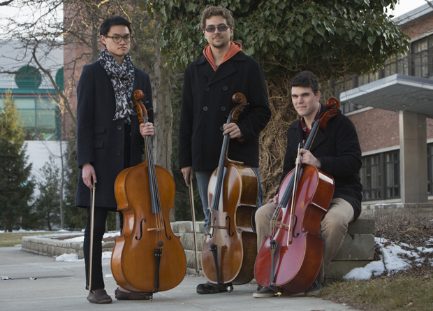 Eric Wuu, left, Paul Watrobski and Xander Edwards, right, will perform in the Cello Studio Concert at 4 p.m. Saturday, April 6, in FA-Casadesus.