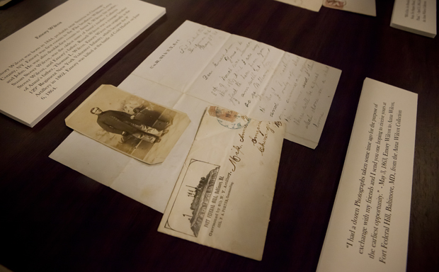 A photograph and letter of Emory Wilcox, a soldier of the 129th Regiment New York Volunteer Infantry, who died during the battle of Cold Harbor on June 6, 1864, during the Civil War, is one of several items on display at the Special Collections department of the Glenn G. Bartle Library.