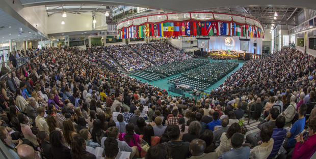 A packed Events Center audience watches the Commencement ceremony for the Harpur College of Arts and Sciences' Division of Science and Mathematics on May 18.