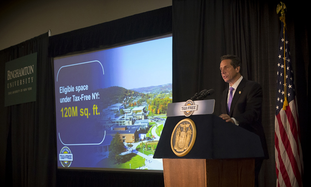 Gov. Andrew Cuomo presents his Tax-Free NY Initiative to a packed house in the University Union's Mandela Room.