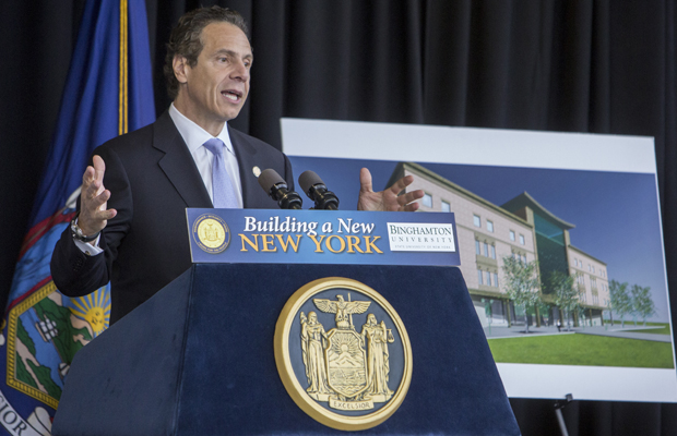 Gov. Andrew M. Cuomo traveled to Binghamton to join with Sen. Thomas W. Libous, Assemblywoman Donna Lupardo and Binghamton University President Harvey Stenger to announce the site of the School of Pharmacy and Pharmaceutical Sciences.