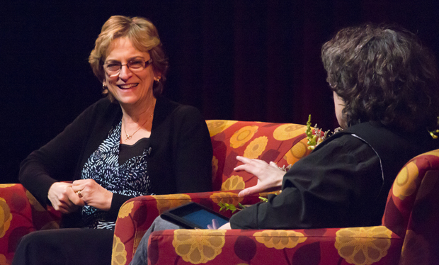 Author/alumna Anita Diamant, left, is interviewed by Bat-Ami Bar On, professor of philosophy and women's studies, during a campus event on April 7.