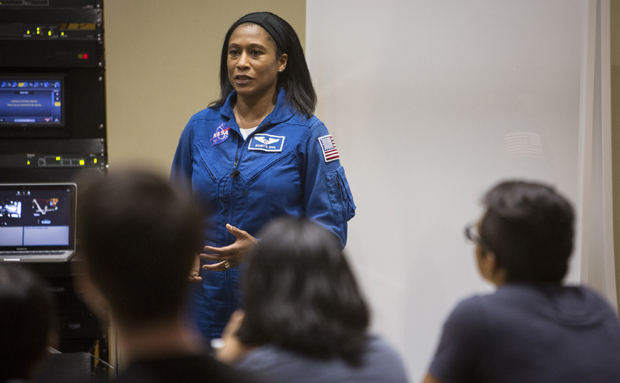 Jeanette Epps, who was selected for the 20th NASA astronaut class in June 2009, gives a presentation at the Innovative Technologies Complex on Sept. 29.