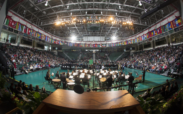 The view of the Events Center from the podium during the 2013 Fall Commencement. The 2014 fall ceremony will take place at noon Sunday, Dec. 14.