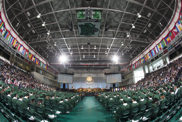 A view of the Fall Commencement stage at the Events Center in December 2014.