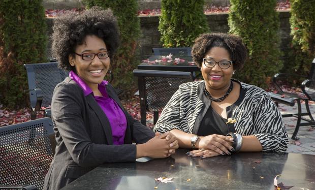 Anreka Gordon, left, and Tanyah Barnes will serve as Binghamton University diversity fellows until the summer of 2016.