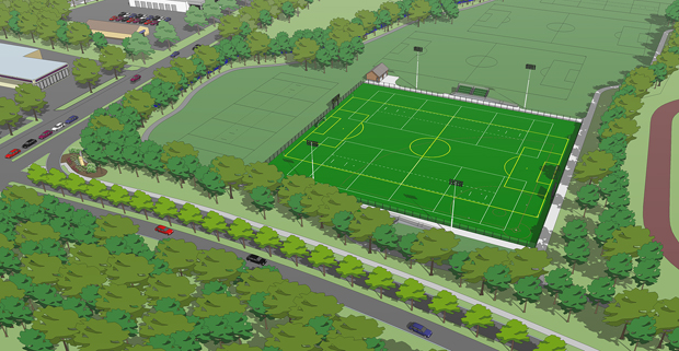 A rendering of the planned turf complex near the Binghamton University entrance.