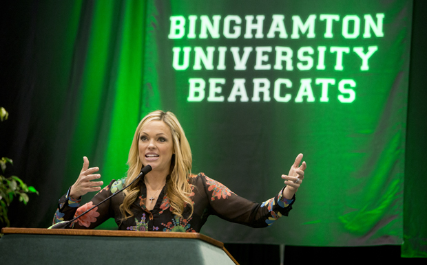 Jennie Finch, who led the U.S. softball team to gold and silver medals in the 2004 and 2008 Summer Olympics, addresses the crowd at the 9th Annual Bearcats Celebrating Women's Athletics Luncheon and Auction on Feb. 3.