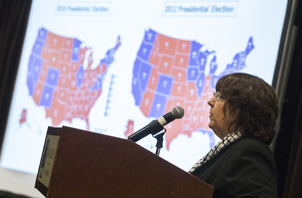 Diane Feldman, MA '77, PhD '79, president of The Feldman Group, a national strategic firm, discusses the 2016 election results at the University Forum on Nov. 30.