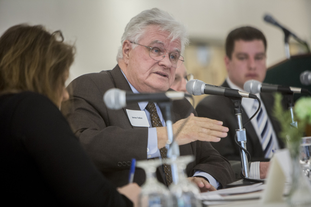 James R. Tallon, Jr., a nationally recognized health care policy leader and president of the United Hospital Fund of New York speaks at the Binghamton University Forum, which presented a panel discussion,