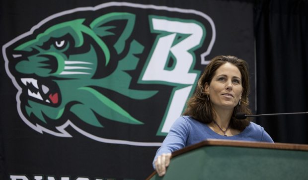 Julie Foudy, two-time World Cup champion and 17-time U.S. Women's National Soccer Team member, speaks during the 6th Annual Bearcats Celebrating Women's Athletics Lunchon on Feb. 7 at the Events Center.