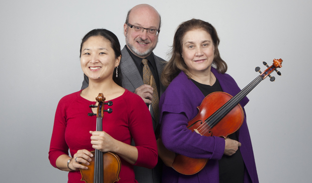 "Janey Choi, left, Timothy Perry and Roberta Crawford of the Music Department will be featured in the Friedheim Recital/Lecture Series on Mozart's ""Sinfonia Concertante for Violin, Viola and Orchestra in E Flat, K.364"