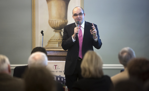 Justin Garcia discusses sex, love and relationships at a Binghamton University Forum luncheon Feb. 20 at Traditions at the Glen in Johnson City.