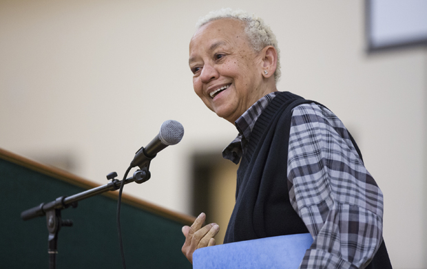 Poet, activist and educator Nikki Giovanni speaks at a Women's History Month talk in the Mandela Room on March 19.