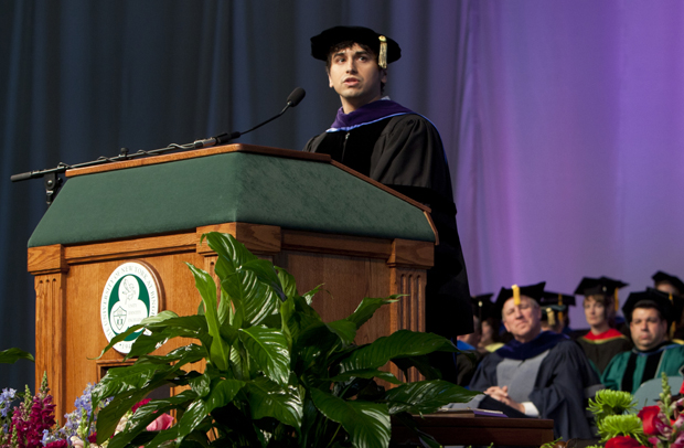 University Medal recipient Ravi Gupta '05 delivers his speech during the Fall Commencement ceremony in the Events Center on Dec. 11.