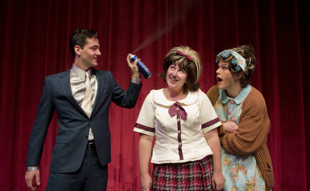 Rob Tendy, left, from Putnam Valley, playing the role of Link Larkin; Michelle Goldrich of Albertson, as Tracy Turnblad; and Matt Gaska of Endicott as Edna Turnblad, star in the Theatre Department's production of