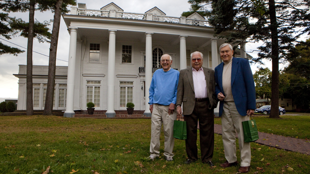 From left, Dick Ulmer, '49, Dr. Louis Piccirili '51 and Bill Davies '51, all from Endwell, were among the alumni who celebrated  the 60th anniversary of Harpur College at Colonial Hall in Endicott on Oct. 6.