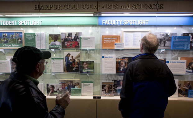 The new Harpur College Wall of Excellence is seen in the Library Tower. Anne McCall, dean of arts, humanities and social sciences at the University of Denver, will become the college's new dean on Aug. 1.