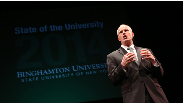President Harvey Stenger delivers the State of the University address at the Osterhout Concert Theater on Jan. 31.