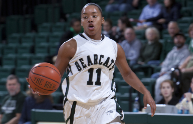 Andrea Holmes scored 24 points in the women's basketball team's 72-60 victory over New Hampshire on Jan. 9. The Bearcats have won three games in a row and remain unbeaten at the Events Center.