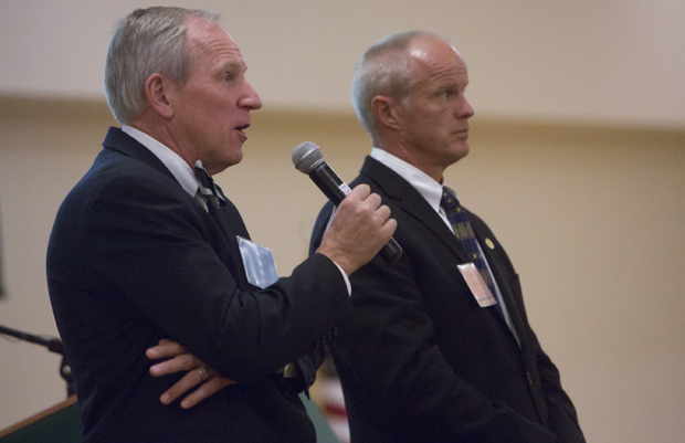 President Harvey Stenger, right, and Provost Donald Nieman kick off the initial Road Map campaign in September 2012. Stenger will discuss a Road Map
