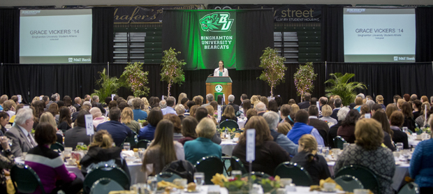 Since 2006, the Celebrating Women's Athletics Luncheon has raised more than $180,000 to support the Binghamton Bearcats Athletic Association (BBAA) Women's Scholarship Fund. The 2015 event will be held on April 27.