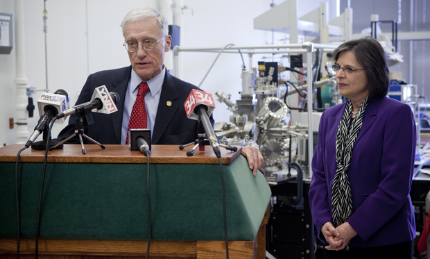 Interim President C. Peter Magrath and Assemblywoman Donna Lupardo speak at a news conference about Lupardo's appointment to chair the Legislative Commission on Science and Technology.