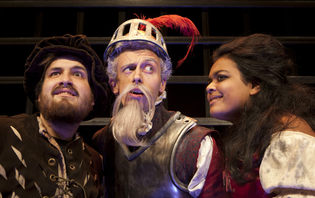 "Steve Tarnow, center, as Don Quixote; Austin Tooley, as Sancho Panza; and Arshia Panicker, as Aldonza, star in ""Man of La Mancha,"" which opens this weekend at Watters Theater."