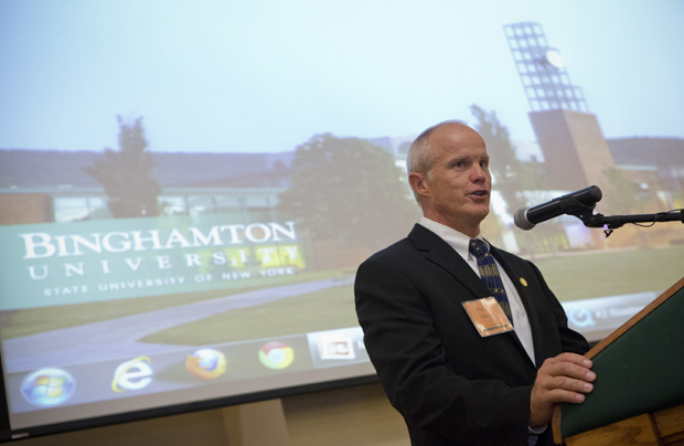 President Harvey Stenger kicks off the Road Map 2012 campaign held on Sept. 10 in the Mandela Room of the University Union.  The campaign, which involves a group of 400 faculty, staff, administrators, community members and local business leaders, is a collaborative initiative aimed at helping Binghamton University become the premier public university of the 21st century.